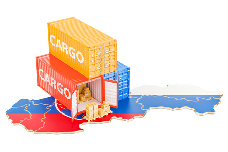 Cargo Shipping and Delivery from Slovakia isolated on white background