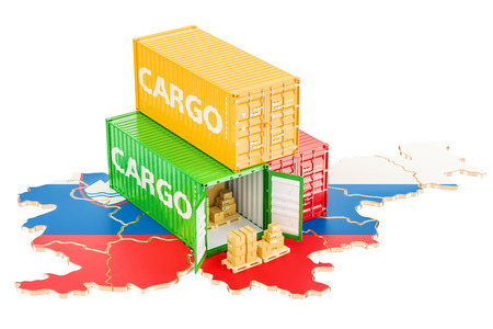 Cargo Shipping and Delivery from Slovenia isolated on white background