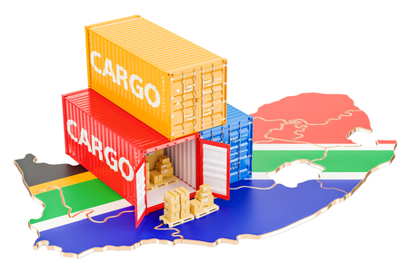 Cargo Shipping and Delivery from South Africa isolated on white background Stock Photo
