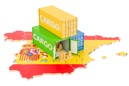 Cargo Shipping and Delivery from Spain isolated on white background