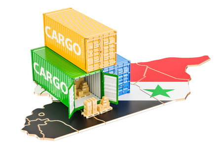 Cargo Shipping and Delivery from Syria isolated on white background Stock Photo