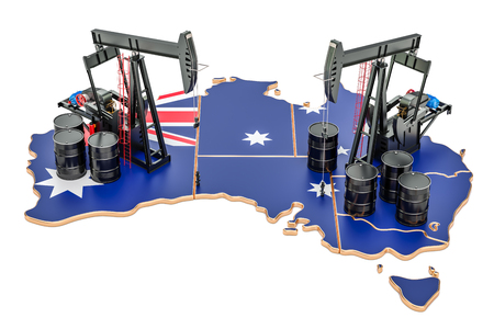 Australian map with oil barrels and pumpjacks. Oil production concept. 3D rendering