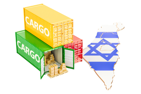 Cargo Shipping and Delivery from Israel isolated on white background