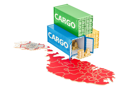 Cargo Shipping and Delivery from Malta isolated on white background Stock Photo