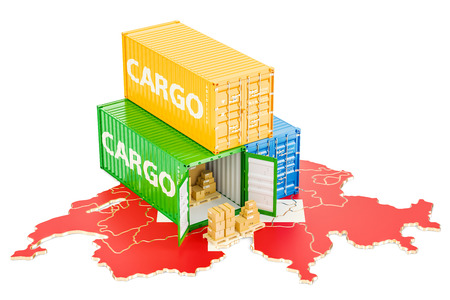 Cargo Shipping and Delivery from Switzerland isolated on white background