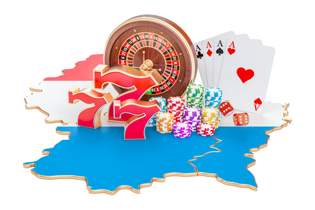 Casino and gambling industry in Luxembourg concept, 3D rendering isolated on white background