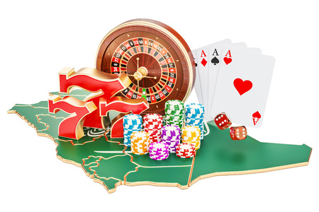 Casino and gambling industry in the Saudi Arabia concept, 3D rendering isolated on white background Stock Photo