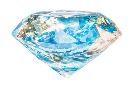 Diamond mining in the world concept. Gemstone with texture of the Earth, 3D rendering isolated on white background