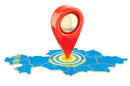 Map pointer on the map of Kazakhstan, 3D rendering isolated on white background