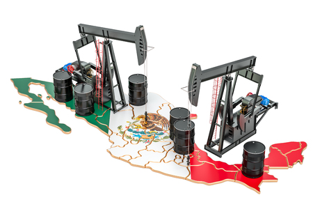 Mexican map with oil barrels and pumpjacks. Oil production concept. 3D rendering Stock Photo