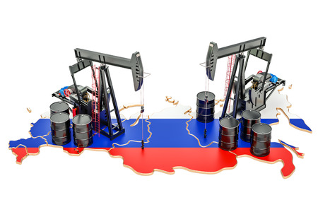 Russian map with oil barrels and pumpjacks. Oil production concept. 3D rendering Stock Photo