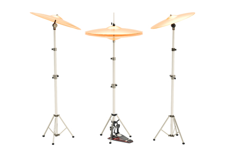 Set of cymbals, 3D rendering isolated on white background