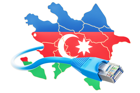 Internet connection in Azerbaijan concept. 3D rendering isolated on white background Stock Photo