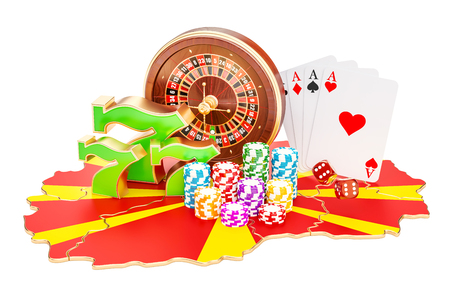 Casino and gambling industry in Macedonia concept, 3D rendering isolated on white background