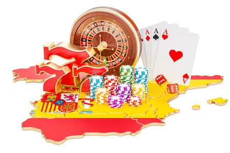 Casino and gambling industry in Spain concept, 3D rendering isolated on white background