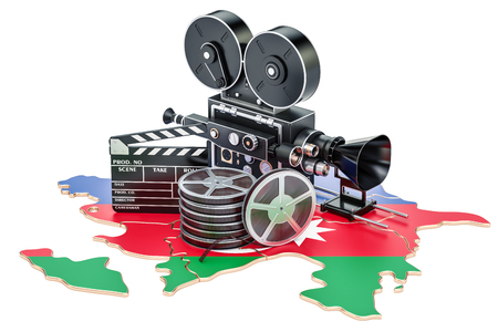 Azerbaijan cinematography, film industry concept. 3D rendering isolated on white background