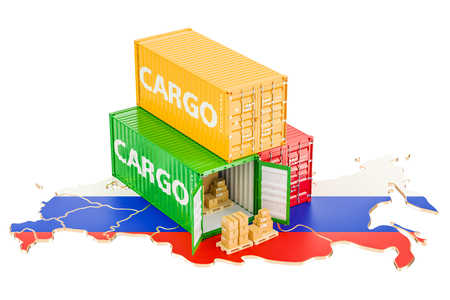 Cargo Shipping and Delivery from Russia isolated on white background Stock Photo