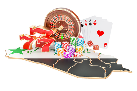 Casino and gambling industry in Iraq concept, 3D rendering isolated on white background