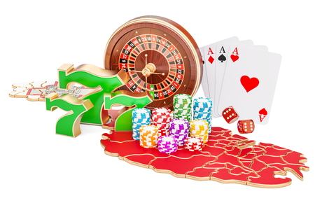 Casino and gambling industry in Malta concept, 3D rendering isolated on white background Stock Photo