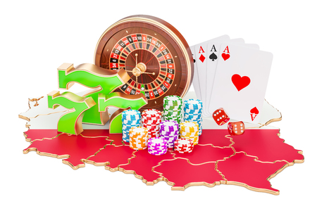 Casino and gambling industry in Poland concept, 3D rendering isolated on white background