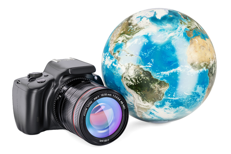 Earth Globe with digital single-lens reflex camera, 3D rendering isolated on white background