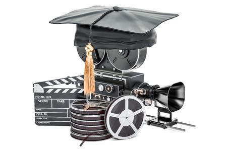 Education in film school concept, 3D rendering Archivio Fotografico