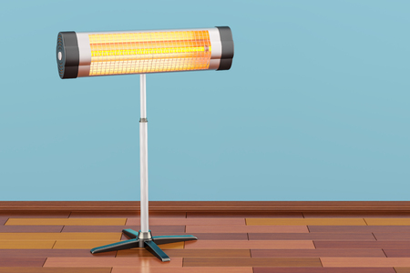 Halogen or infrared heater on the wooden floor. 3D rendering