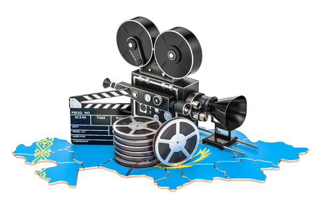 Kazakh cinematography, film industry concept. 3D rendering isolated on white background