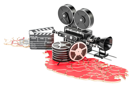 Malta cinematography, film industry concept. 3D rendering isolated on white background
