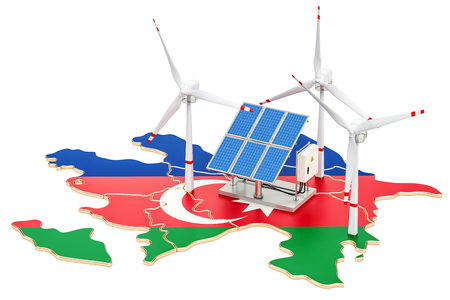 Renewable energy and sustainable development in Azerbaijan, concept. 3D rendering isolated on white background Stock Photo