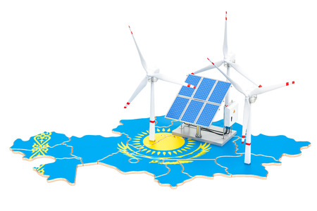 Renewable energy and sustainable development in Kazakhstan, concept. 3D rendering isolated on white background