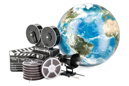 World cinematography, film industry concept. 3D rendering isolated on white background Stock Photo