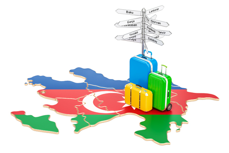 Azerbaijan travel concept. Map with suitcases and signpost, 3D rendering