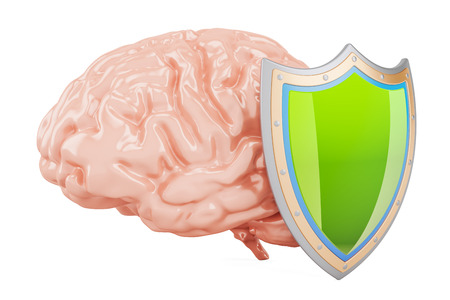 Brain with shield, 3D rendering isolated on white background Stock Photo