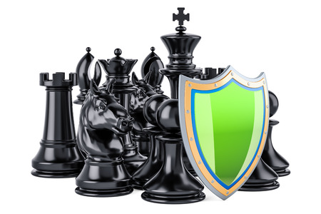 Chess figures with shield. Security and protect or insurance concept, 3D rendering