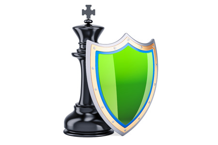 Chess King with shield. Protect and insurance concept, 3D rendering