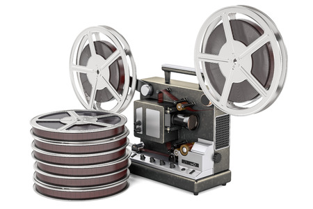 Cinema projector with movie reels  , 3D rendering isolated on white background Stock Photo