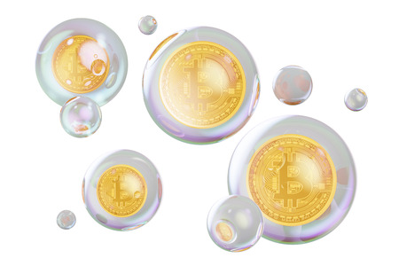 Financial bubble concept. Bitcoins inside soap bubbles, 3D rendering isolated on white background
