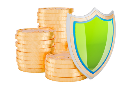 Financial insurance concept. Golden coins with shield, 3D rendering isolated on white background