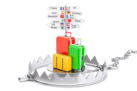 Fraud in travel concept, 3D rendering isolated on white background