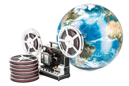 Global film distribution concept, 3D rendering isolated on  white background