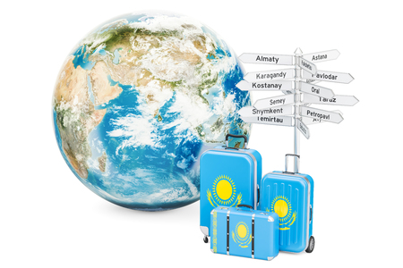 Kazakhstan travel concept. Suitcases with signpost and Earth Globe, 3D rendering