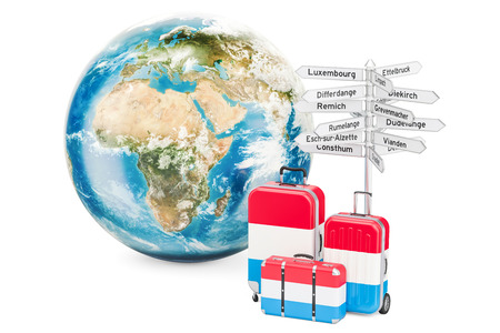 Luxembourg travel concept. Suitcases with signpost and Earth Globe, 3D rendering Foto de archivo