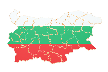 Map of Bulgaria, 3D rendering isolated on white background Stock Photo