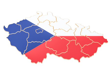 Map of Czech Republic, 3D rendering isolated on white background
