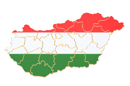 Map of Hungary, 3D rendering isolated on white background