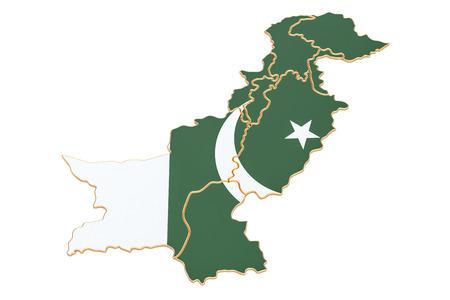 파키스탄, 흰색 배경에 고립 된 3D 렌더링의지도