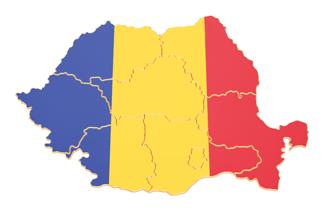 Map of Romania, 3D rendering isolated on white background Foto de archivo