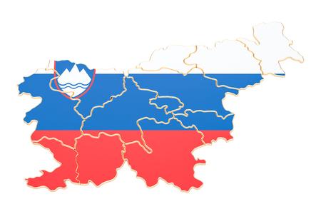 슬로베니아, 흰색 배경에 고립 된 3D 렌더링의지도 스톡 콘텐츠