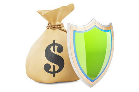 Money bag with shield. Financial insurance concept, 3D rendering isolated on white background
